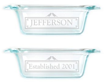 Personalized Bread Loaf Pan with Handles 1.5Qt baking dish 7407 Design Personalized
