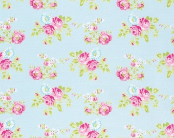 Zoey Rose in Blue pwtw119 - ZOEYS GARDEN by Tanya Whelan for Free Spirit Fabrics - By the Yard