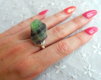 Raw fluorite Ring, Rainbow Flourite Ring, Gemstone Ring, Mothers Day Gift