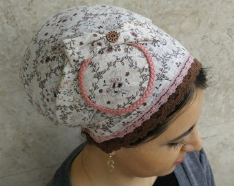 tichel, hijab,unique, cotton, headscarf, no need to wrap, just tie in the back, israel, hair snood