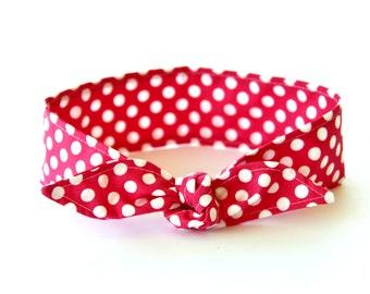 No Wire Dolly Bow Headband Rosie the Riveter Hot Pink Polka Dots Rockabilly Pin Up Women Teen Girls Headscarf Top Knot Headband