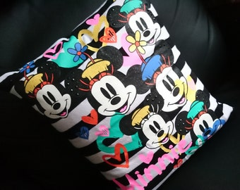 Minnie mouse Pillow Cushion Cover Upcycled Tshirts Eco