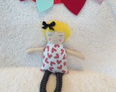 VALENTINE'S DAY ragdoll - handmade doll - ooak - red hearts with black legs - blonde