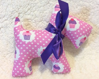 Stuffed Scottie Dog - plush - pink with polka dots and purple cupcakes