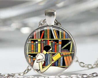 ON SALE Librarian Necklace Book Jewelry Reading Bibliophile Library Art Pendant in Bronze or Silver with Link Chain Included