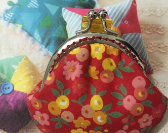 Handmade Small Coin Purse - Floral Rose in Red (ONE Only/1510-02)