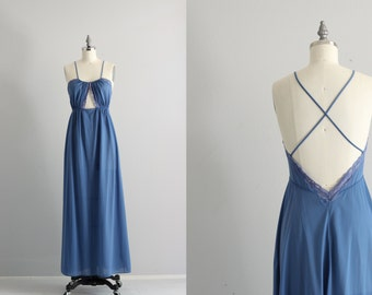 70s Lingerie . 1970s Cutout Nightgown . Blue Vintage Nightgown