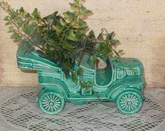 Ceramic Antique Car Planter - Vintage Design - Sea Mist Green