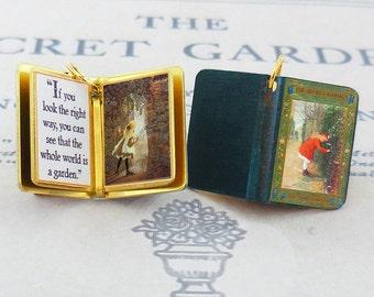 The Secret Garden by Frances Hodgson Burnett  - Miniature Book Charm Quote Pendant - for charm bracelet or necklace.