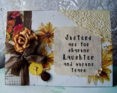 Sister birthday, Sisters greeting card, I love my sister card, Autumn themed sister card, daisy card, pretty sister card
