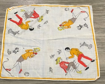 Vintage Novelty Teenager Girl and Boy Dating Handkerchief Hanky -vintage hanky, Hanky, novelty hanky, teenage boy and girl hanky