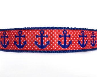 Nautical Dog Collar / Anchor Dog Collar / Red White Blue Dog Collar / Nylon Webbing Dog Collar / Red & Blue Dog Collar