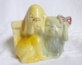Shawnee Pottery Puppy Dog Vase Planter Vintage Nursery Decor Yellow Gray Puppy Kitsch Retro 1950s