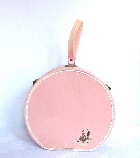 Pink Doll Childs Suitcase Vintage LUCE Round Cardboard Suitcase Collectible Silver Stars 10 in tall 1950s