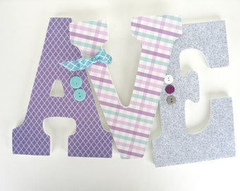 Purple,Gray, and Aqua Wood Nursery Decor - Baby Girl Custom Wooden Letters - Hanging Wall Letters