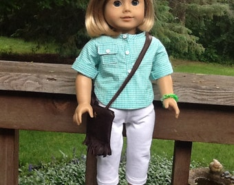 18 Inch Doll Clothes Complete Blouse and Pants Outfit including Sandals and Purse to fit dolls like American Girl