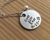 "Best Life Ever Inspiration Necklace- ""Best Life Ever"" with baptism date and an accent bead in your choice of colors-  hand stamped jewelry"