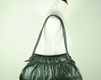 ON SALE 50% Vintage FINE Dark Olive Pleated Hand Bag