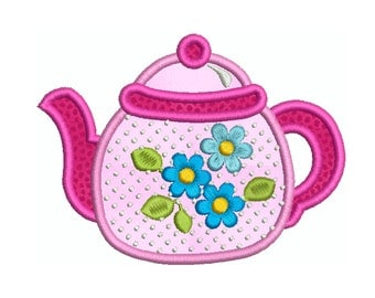 KITCHEN 9 TEAPOT - Machine Applique Embroidery - Instant Digital Download