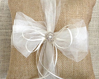 Burlap Ring Bearer Pillow, Burlap Ring Pillow, Burlap and Tulle Rhinestone Ring Pillow, Ivory Ring Pillow, Rustic Tulle Ring Bearer Pillow
