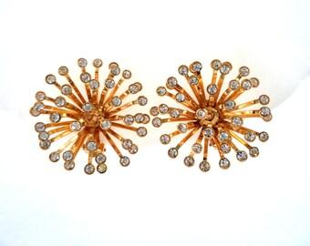 Vintage Rhinestone Fireworks Gold Tone Clip On Earrings