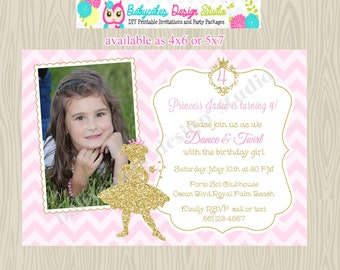 Princess Ballerina Invitation Ballerina invitation princess invitation invitation ballerina princess birthday pink gold photo picture DIY