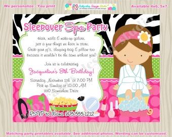Sleepover Spa Party invitation spa sleepover invitation invite pajama party pamper party slumber party - DIY printable -CHOOSE your girl