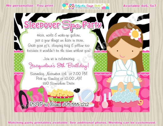 like this item - Pamper Party Invitations