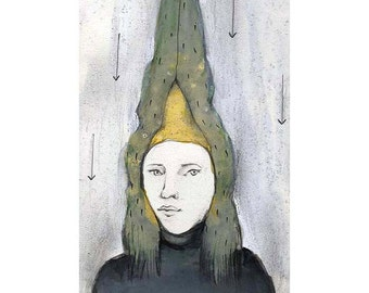 art Man Hunter original painting portrait illustration figurative people MATTED