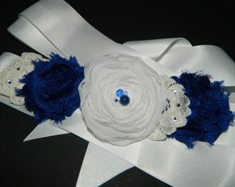 Flower Girl White Royal Blue Sash Dark Blue White Satin Belt Cobalt Royal Blue White Sash Blue White Floral Dress Sash Flower Girl Sashes