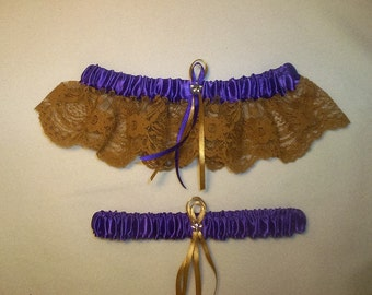 Purple Satin / Gold Lace - 2 Piece Wedding Garter Set - 1 To Keep / 1 To Throw