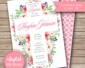 Watercolor Floral Baptism Invitation, Watercolor Baptism Invite, Cross Baptism Invite  - Watercolor Flowers in Shades of Pink, Green, Purple