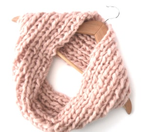 Soft pink knitted Infinity Scarf , chunky ribbed snood, hand knit cowl , dusky pink scarf,  mohair knit , ladies cowl , mothers day gift