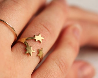 Star Ring ... Vintage Midi Brass Adjustable Moon Constellation