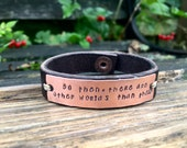 """Go then, there are other worlds than these - 1/2"""" leather and copper bracelet, Dark Tower, Stephen King, Dark Tower Jewelry"""