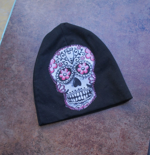 Olivia Paige -Black skull Pin up baby flower sugar skull skeleton Hat La muerte