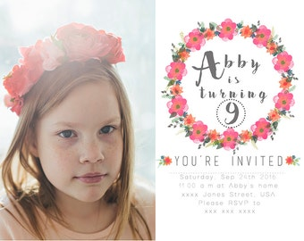 5x7  Horizontal Flat Card PSD Template Modern Wreath Birthday Invitation INSTANT DOWNLOAD