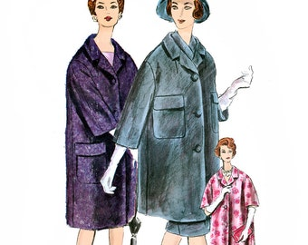 Vogue Couturier Design 1018 Vintage 60s Sewing Pattern by Michael of England for Misses' Coat, Skirt and Scarf - Size 18 - Bust 38