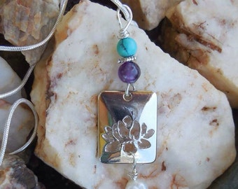Lotus Necklace, Turquoise, Amethyst, Freshwater Pearl, Lotus Charm, Yoga Jewelry