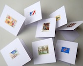8 Greeting Cards Made with Vintage French Postage Stamps, Not Reprints