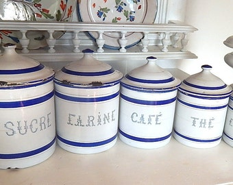 5 French Vintage Enamelware Canisters Complete Set with Lids Blue and White