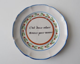 """Valentine Gift! """"LOVE FOR LOVE"""" French Country Plate 'Nevers' from 1800s"""