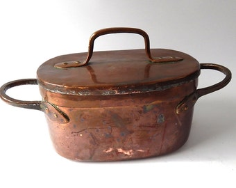 Antique French Copper Daubiere or Stew Pot