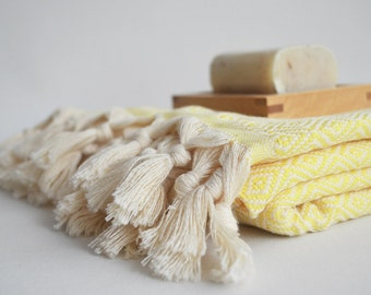 BathStyle / Diamond Bathstyle Turkish BATH Towel Peshtemal -A- Light Yellow - Bath, Beach, Spa, Swim, Pool Towels