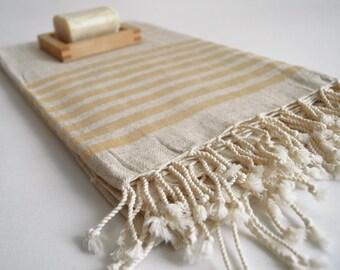 NEW Special Production Turkish BATH Towel Peshtemal - Linen - Yellow Striped