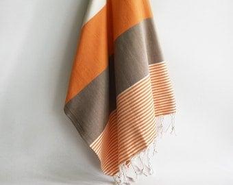 SALE 30 OFF/ Turkish Beach Bath Towel / Classic Peshtemal / Orange Brown Beige / Wedding Gift, Spa, Swim, Pool Towels and Pareo