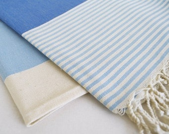 SALE 30 OFF/ Turkish Beach Bath Towel / Classic Peshtemal / Blue / Wedding Gift, Spa, Swim, Pool Towels and Pareo