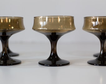 Retro Smoked Brown Glasses Set of Five (5) - Mid Century Mod Dessert Dishes or Champagne Goblets