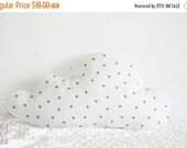 ON SALE Cloud Pillow, Soft Pillow, Decorative Cloud Pillow, Nursery Decoration, Grey Stars on White, Gender Netural Nursery
