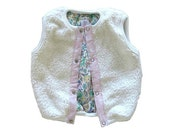 Baby Girl Vest - Cream Faux Fur , Reversible